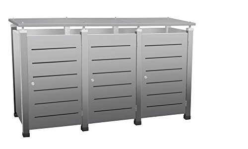 Mülltonnenbox Modell Pacco E Line für drei 120 Liter Tonnen in Edelstahloptik