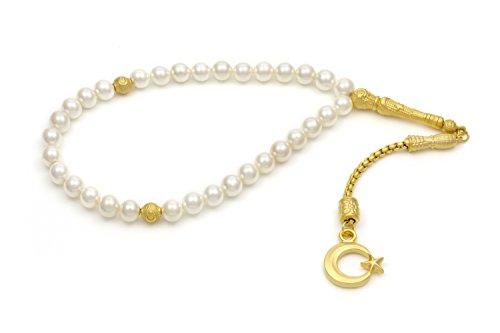 Gök-Türk Elegante Gebetskette - Tesbih 33 Perlen Weisse Perlen mit goldfarbenem Anhänger 'Halbmond mit Stern'