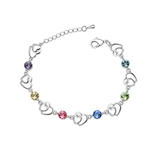 Aooaz placcato in oro bianco braccialetto per le donne, matrimonio bracciale a maglies CZ Zirconia cubica, amore cuore coloreato
