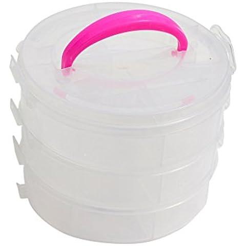 Caja Organizadora de Manualidades y Pasatiempos Redonda de 3 Niveles en Plástico Transparente de KurtzyTM 3-15