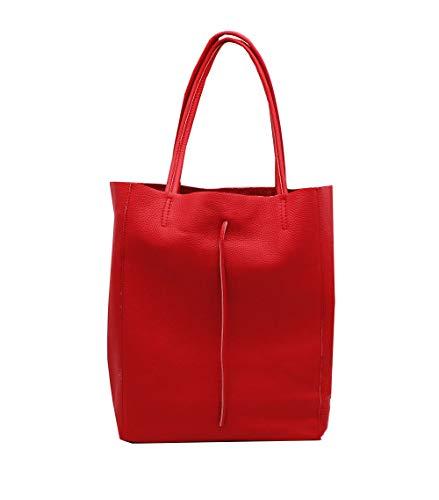 Oktradi® Damen Shopper Leder Schultertasche Handtasche Ledertasche Laptoptasche Beutel 30 x 35 x 14 cm Made in Italy (Rot) - Design-damen-laptop-tasche