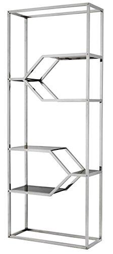 Casa Padrino Designer Edelstahl Regalschrank mit Rauchglas 90 x 38 x H. 230 cm - Luxus Hotel Möbel