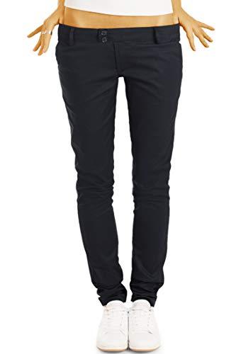 bestyledberlin BE Styled Damen Chinos - Stoffhosen, röhrige hüftige Passform, mit Stretch h15a 38/M schwarz Damen Chino Hose