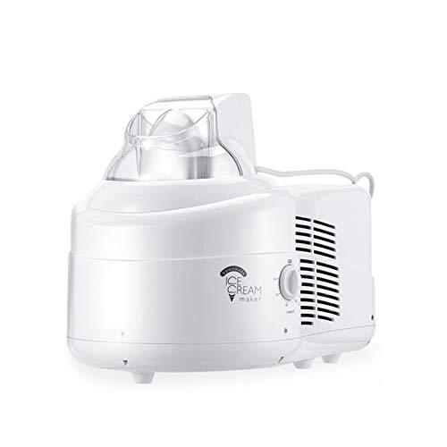HOPELJ Eismaschine mit Kompressor 120W, 1L ABS Elektrische Eismaschine, Abnehmbarer Eiscremebehälter, Kein Pre-Freezing, Einfach zu Verwenden, Weiß
