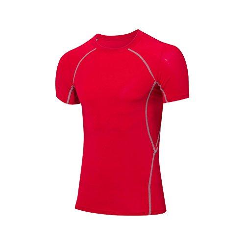 Beigoe Uomo Training Top Compression manica corta Base Layer T-shirt Red