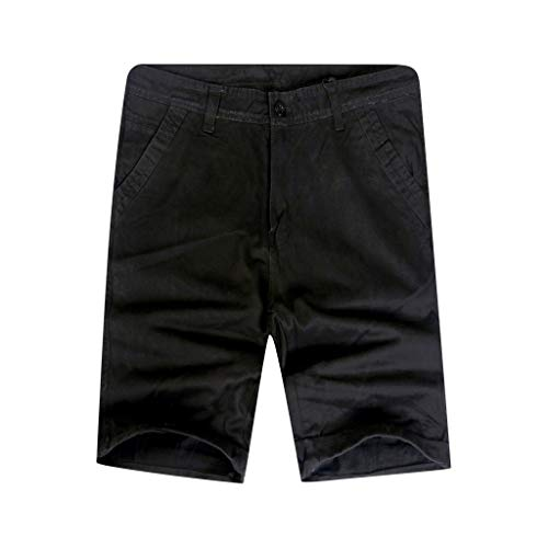 Cargo Shorts Herren Chino Kurze Hose Sommer Bermuda Sport Jogging Training Stretch Shorts Fitness Vintage Regular Qmber,Slim-Fit-Shorts in unifarben/Schwarz,32 - Compression Womens Orange Shorts