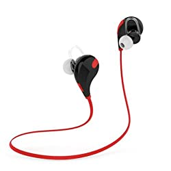 Defloc Qy7 Bluetooth 4.1 Lightweight Wireless Sports Headphones with Built In Mic Compatible for iPhone, iPad, Samsung and Android Smartphone - Red
