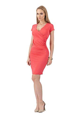Kleid V-Ausschnitt Sommerkleid Mini Kleid in 10 Farben Gr. 36 38 40 42 44 46, 8984 Koralle