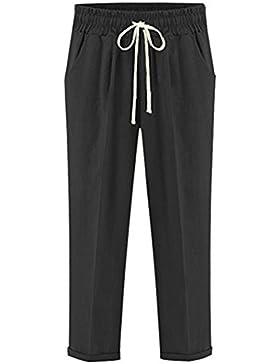 Pantalones Chinos De Mujer Cintura Elástica Pantalones Talla Grande