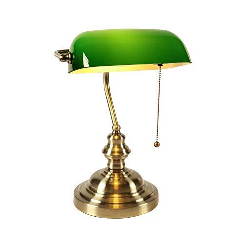 Lámpara de escritorio Newrays de vidrio verde para banqueros con ...