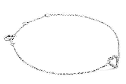 Miore Armband - Armreif Damen Kette  Weißgold 9 Karat / 375 Gold mit Herz  Diamant Brillianten 0.07 ct  18 cm