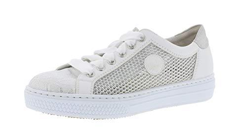 Rieker L59D6 Damen Low-Top Sneaker,Halbschuh,Sportschuh,Schnürschuh,atmungsaktiv,weiss-silber/weiss/81,39 EU / 6 UK