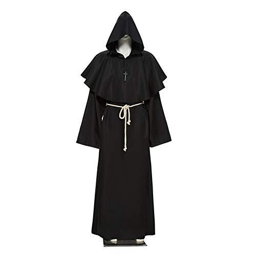 Gshy Halloween Kostüm Robe Priester Mönch Pastor Mittelalter Cosplay Umhang Kapuze Unisex Karneval Party Cosplay für Erwachsene Damen Herren (M(170-175CM), - Priester Für Erwachsenen Kostüm