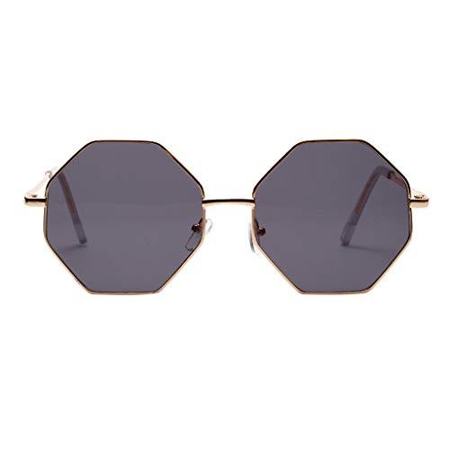REALIKE--Sonnenbrillen für Damen Oversized Achteck Gestalten Gespiegelt Eben Linsen Metall Rahmen...