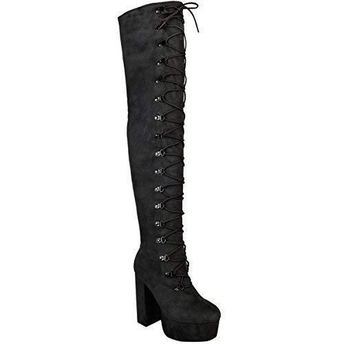 Damen Overknee-Stiefel mit hohem Absatz - hoher Schaft mit Schnür-Detail - Schwarz Veloursleder-Imitat - EUR 36