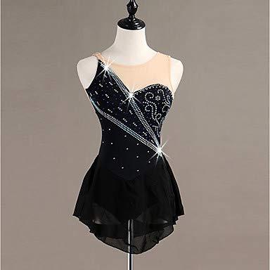 Heart&M Eiskunstlauf Kleid Für Mädchen Und Frauen, Handgefertigt Rollschuhkleid Eislauf Wettbewerbs Eislaufen Kostüm Ärmellose Trikots Mit Hochwertiger Tunika Aus Kristallen, Schwarz
