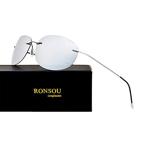 RONSOU Ultraleichte Randlose Reine Titan-bunte Mode Polarisierte Sonnenbrille für Männer und Frauen_Graue Rahmen Silberne Linse (gespiegelt)