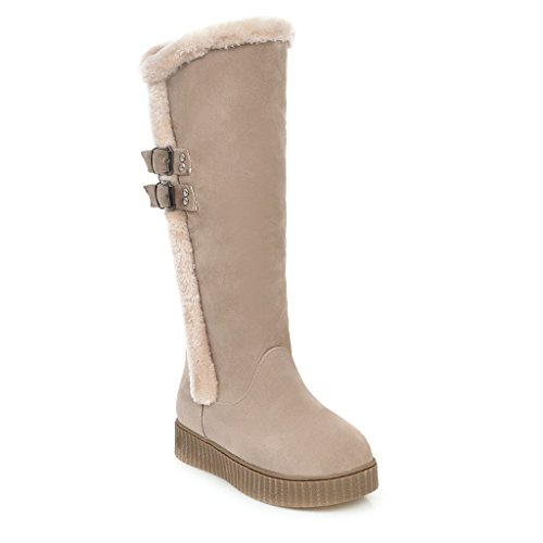 CXQ-Stivali QIN&X Donna fondo spesso Chunky Heel lunghi stivali scarpe Beige