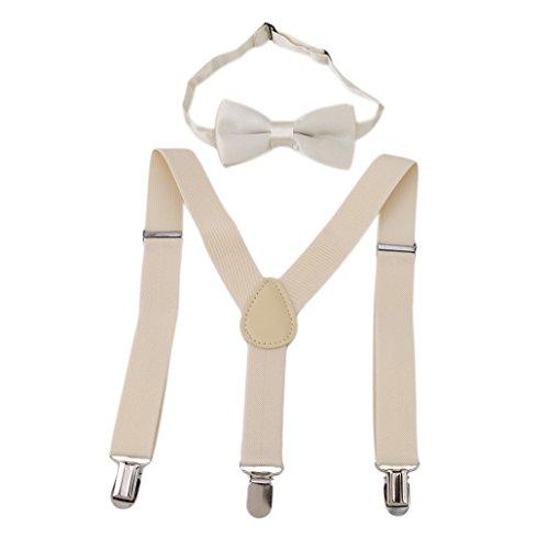 n Mädchen Hosenträger Elastisch Einstellbare Braces Clip-On mit Fliege Set (Elfenbein weiß) (M Und M Kostüme Für Kleinkinder)