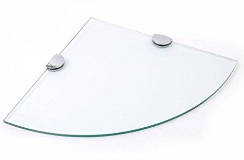 Bsm marketing 300mm 30,5cm circa 6mm spessore vetro temperato mensola angolare per bagno, camera da letto ufficio con finitura cromata mensola supporta