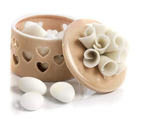 Mandorle by paben 6 pezzi bomboniera matrimonio comunione cresima scatola in porcellana cuori traforati e calle sul coperchio
