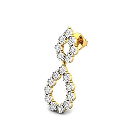 Candere by Kalyan Jewellers 14KT Yellow Gold and Diamond Drop Earrings for Women