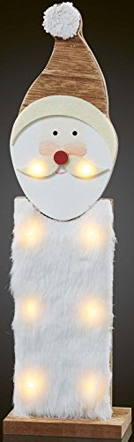Hellum Glühlampenwerk LED-Weihnachtsmann 522181 aus Holz m.Kunstfell Festbeleuchtung 4001233522181