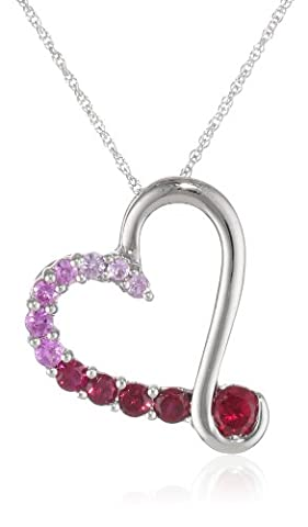10k White Gold Round Created Pink Sapphire and Created Ruby Heart Pendant Necklace, 18