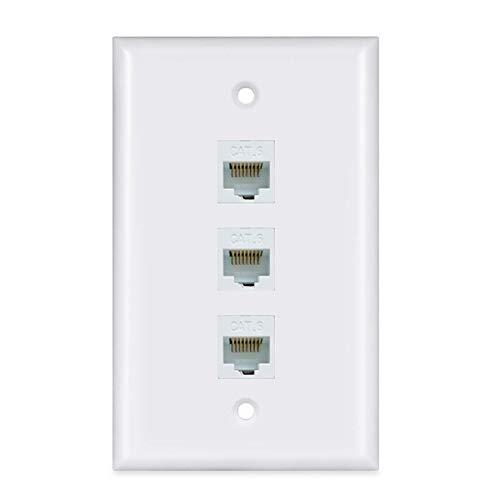 ESYLink Ethernet Wandplatte CAT6PL-3 Port 3 Port weiß Gang Wall Plate 3 Port