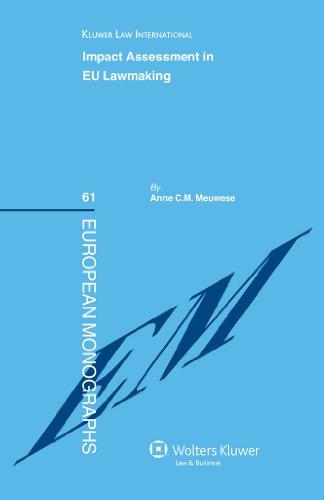Impact Assessment in EU Lawmaking (European Monographs)