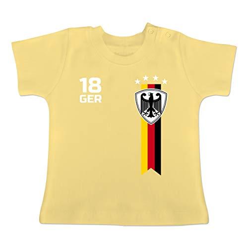 Fußball-Weltmeisterschaft 2018 - Baby - WM Fan-Shirt Deutschland - 6-12 Monate - Hellgelb - BZ02 - Baby T-Shirt Kurzarm