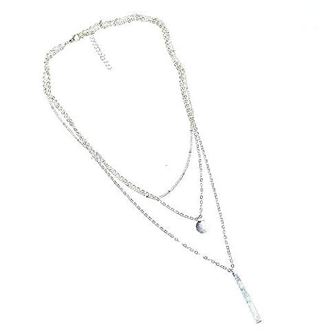 oumosi simple Plaqué Or multilayers avec pièce Bar Charm Collier clavicule chaîne bijoux