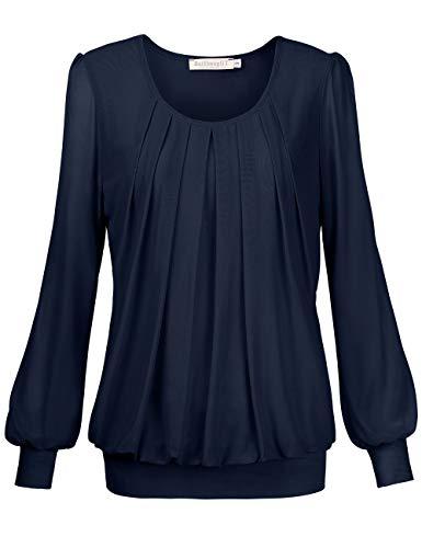 BaiShengGT Damen Langarmshirt Rundhals Falten Shirt Stretch Tunika Blau S