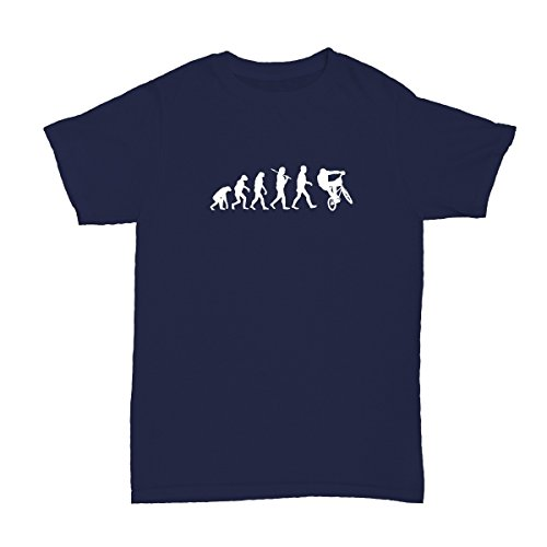 Shirtfun24 EVOLUTION BMX fahren Fahrer Kinder T-Shirt, Navy (Blau), 140