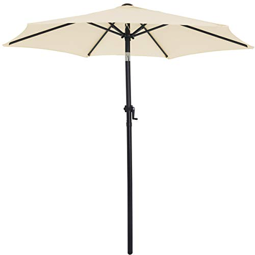 Deuba® Sonnenschirm I Ø 200cm I UV-Schutz 40+ I mit Kurbel und Neigefunktion I wasserabweisend I Aluminium - Kurbelschirm Gartenschirm beige