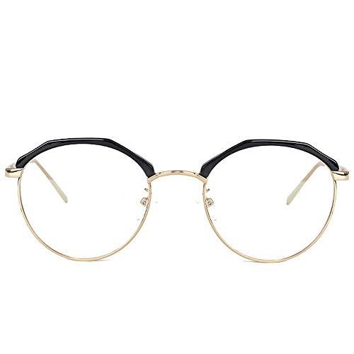 ERSD Metallrahmen Brille Vintage Retro Classic Halbrand Horn Umrandete Klare Linse Brille Glasrahmen Transparente Gläser (Farbe : Gold) -