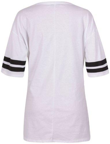 Damen Top Chicago 1958 Varsity Streifen Weiter U-Ausschnitt Lang Übergröße T-Shirt Weiß