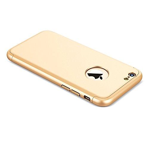 iPhone 6S Funda , Combinación Funda cover para iPhone 6S / 6 , Moevn Carcasa 360 Grados Protección Case Cover Duro Anti Skid Anti Rasguño Color PC Funda para iPhone 6S / iPhone 6 - 4.7 Pulgada - Oro