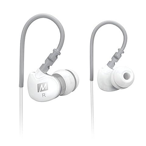 MEE audio Sport-Fi M6 Écouteurs intra-auriculaires à isolation acoustique et fils mémoire Blanc