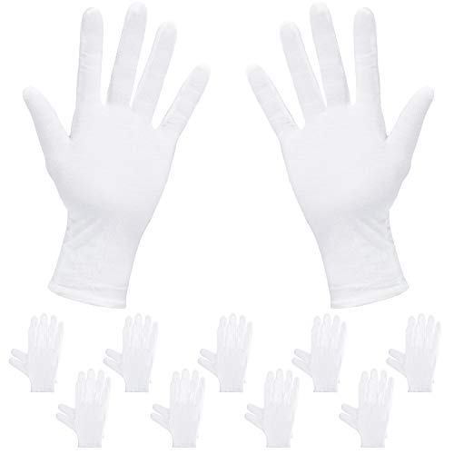 Price comparison product image Rovtop 10 Pairs Cotton White Gloves,  9.8 inches, Used to Inspect Jewelry,  Dry Hand moisturizer & Daily Work and More