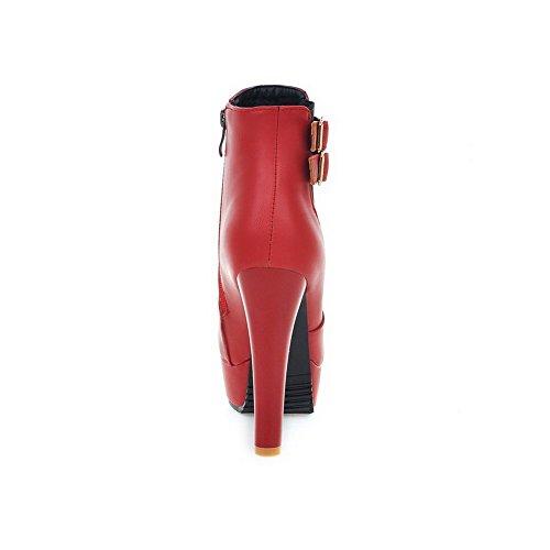 VogueZone009 Damen Rein Hoher Absatz Pu Leder Reißverschluss Stiefel Rot