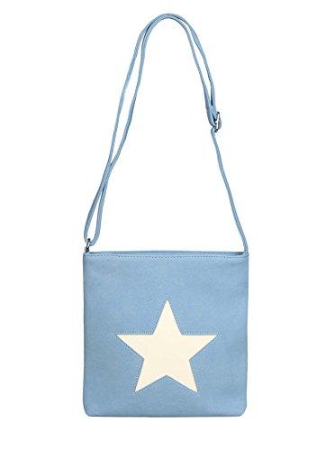 Cashmere-leder-rucksack (Zwillingsherz Kunstleder Tasche mit Stern für Damen, Mädchen perfekt für jeden Anlass / Schultertasche / Shopper - Badetasche - Umhängetasche - Henkeltasche (blau))