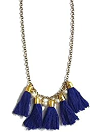 TIARAA Blue Alloy Tassel Necklace With Pearls For Women
