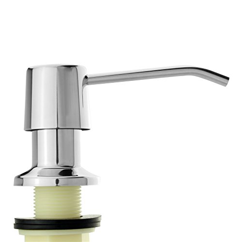 AnthonLee Stainless Steel Kitchen Sink Countertop Soap Dispenser Built in Hand Soap Dispenser Pump, Large Capacity 17 OZ Bottle, 3.15 Inch Threaded Tube for Thick Deck Installation (Polished)