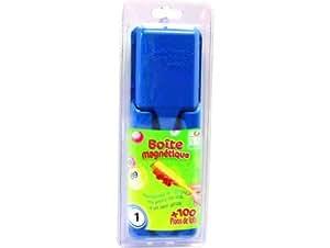 Boite magnetique bleu + 100 pions loto - lotoquine - accessoire loto