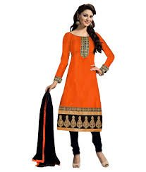 Manav Fashion Women's Raw Silk Unstitched Dress Material (urvashi orenge_Orange_Free Size)
