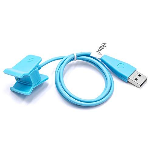 vhbw Ladekabel 55cm Ladestation für Fitbit Alta HR Smartwatch, Fitnesstracker blau mit Reset Funktion Ersatzkabel Datenkabel