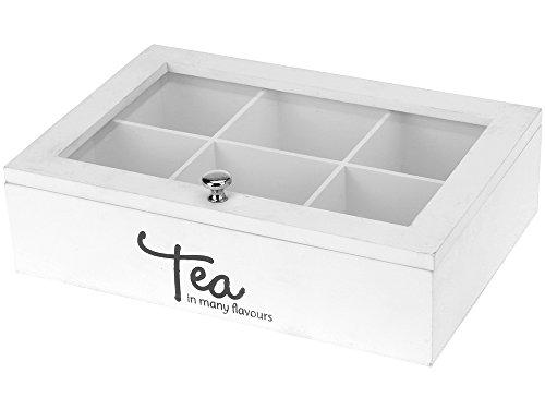 Weiße Teebox mit Sichtfester aus Holz 6 oder 9 Fächer