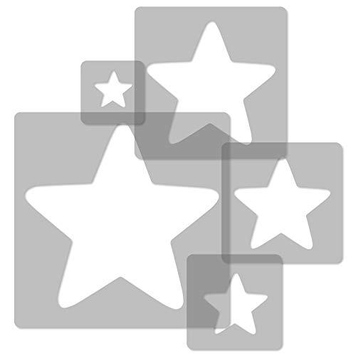 5 Stück wiederverwendbare Kunststoff-Schablonen // STERN #2 // 34x34cm bis 9x9cm // Kinderzimmer-Dekorarion // Kinderzimmer-Vorlage - Stern-schablonen