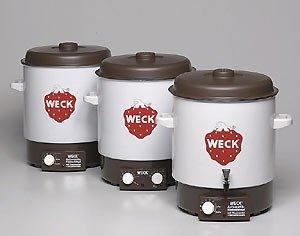 WECK Einkochautomat, Einweckautomat mit 2-fach Emaillierung zur hervorragenden Wärmeisolierung, Präzisionsthermostat, geschlossener Topfboden, Entsafter, Entsafterschaltung, zum Einkochen von Obst und Gemüse, Einkochvollautomat, Überhitzungsschutz, ca. 2000 Watt, Ø 36 cm,  29 Liter Fassungsvermögen, Zeitschaltuhr, Einlegerost, für ca. 14 Gläser,